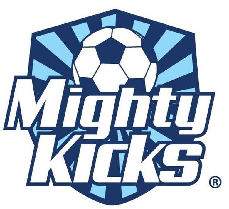 the logo for mighty kicks with the words mighty kicks and a soccer ball image