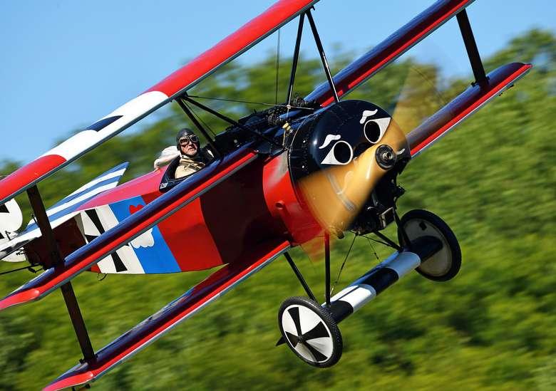 a fokker triplane in flight