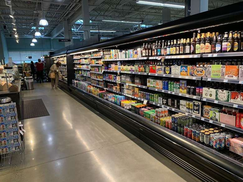 craft beverages on shelves in a store