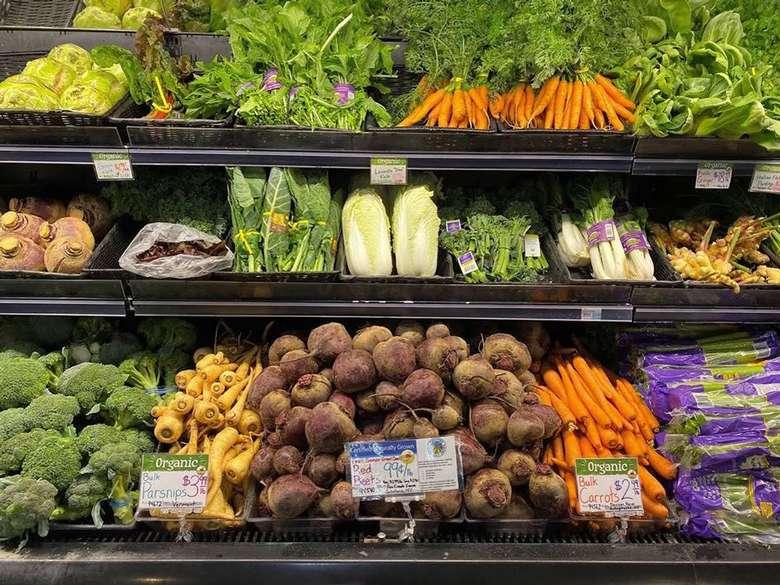 fresh veggies on display