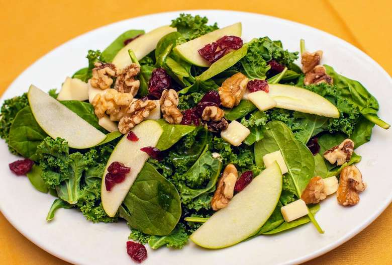 salad with apples, cranberries, walnuts
