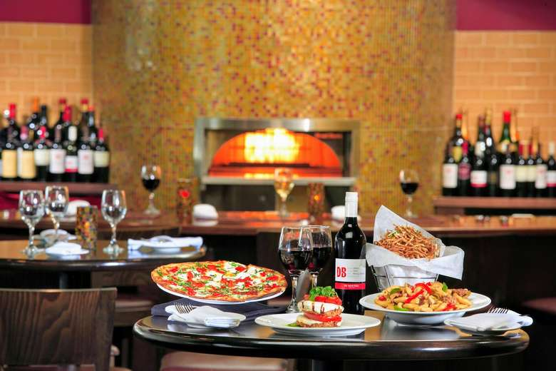 meals, wine, wood fired pizza oven