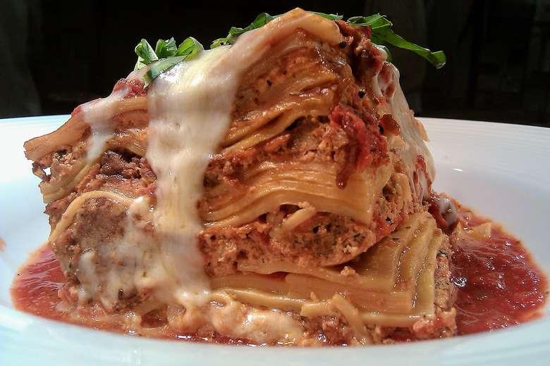 lasagna piled high