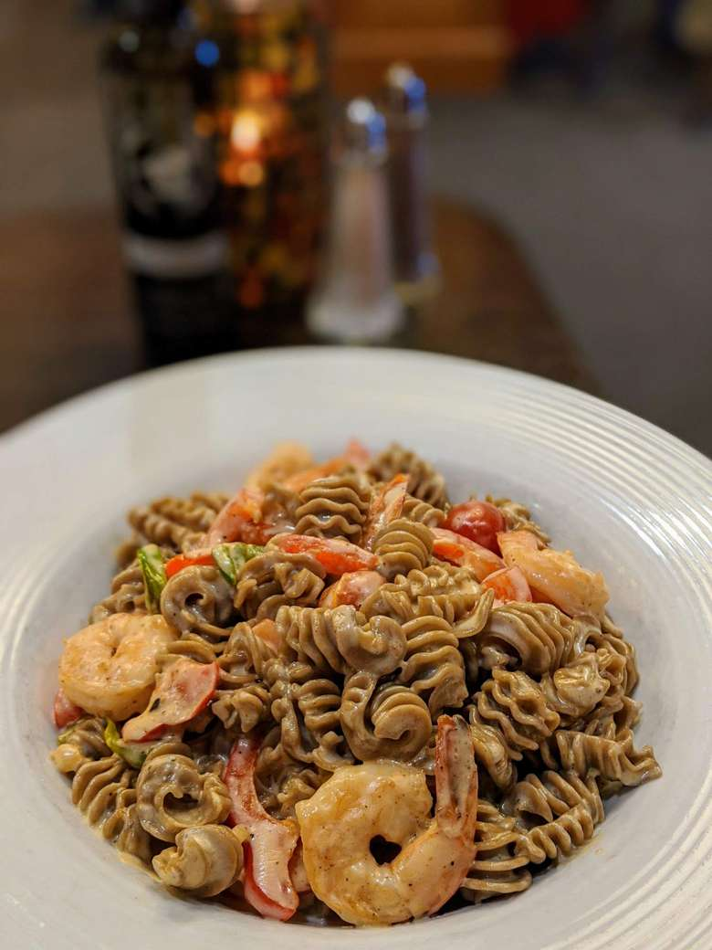 pasta dish with shrimp