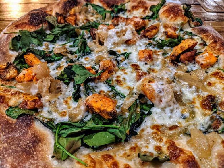 pizza with spinach and sweet potato