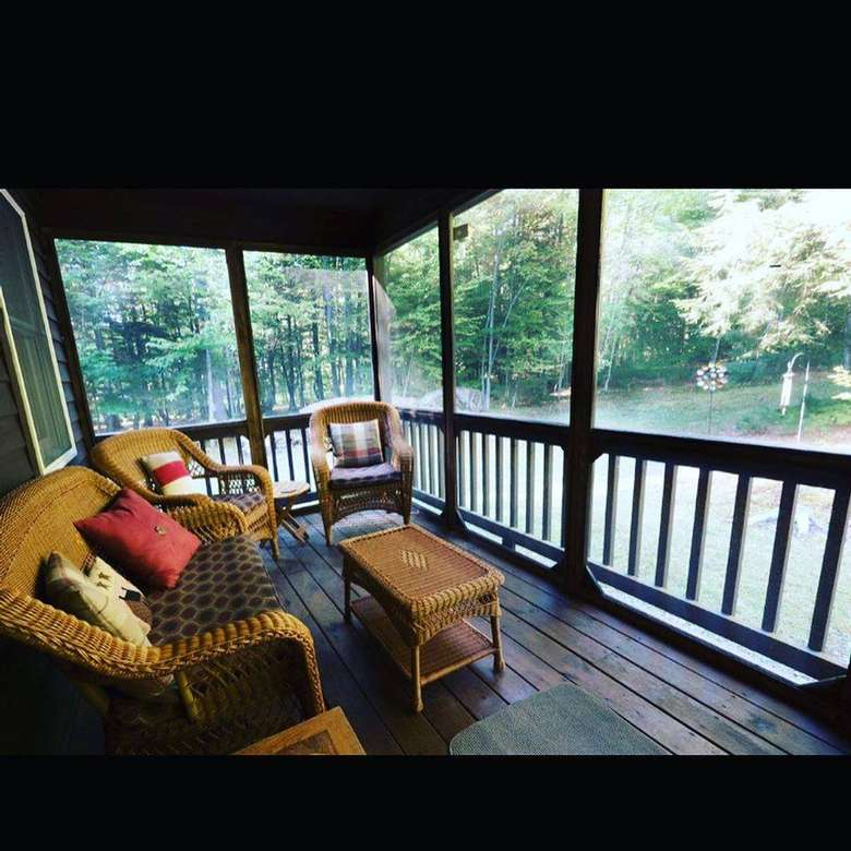 furniture in a screened porch
