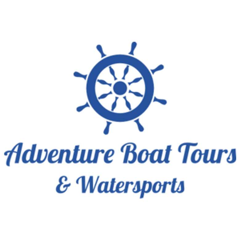 the logo for adventure boat tours and watersports