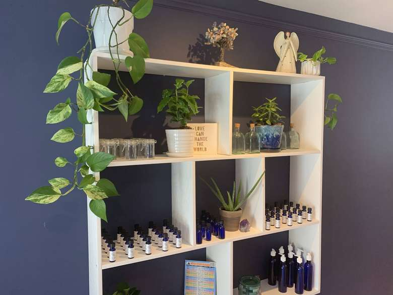 plants and products on shelves