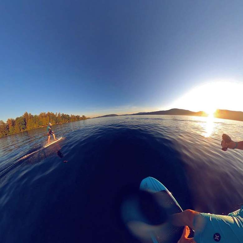 view from camera of efoiling on a lake