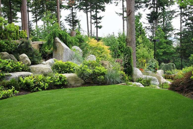 clean cut lawn with rock garden area