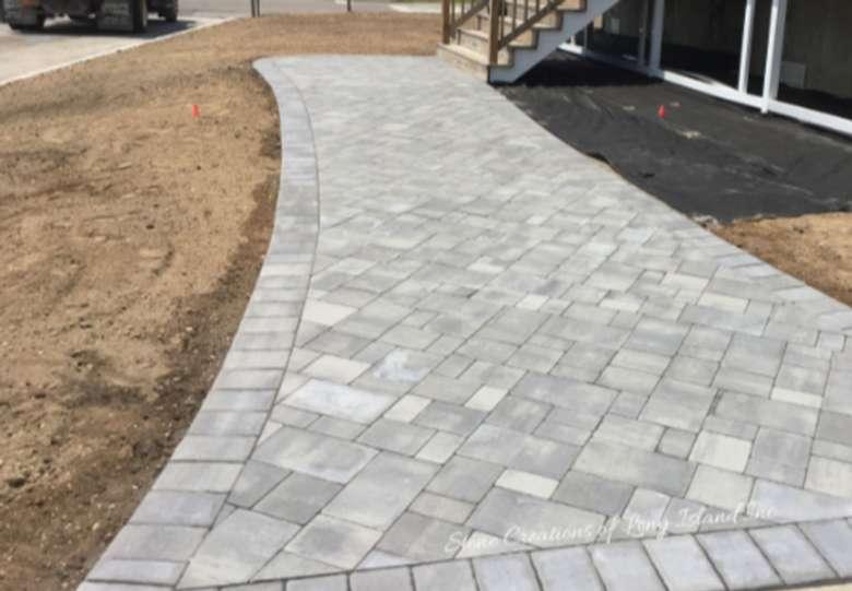 a concrete walkway