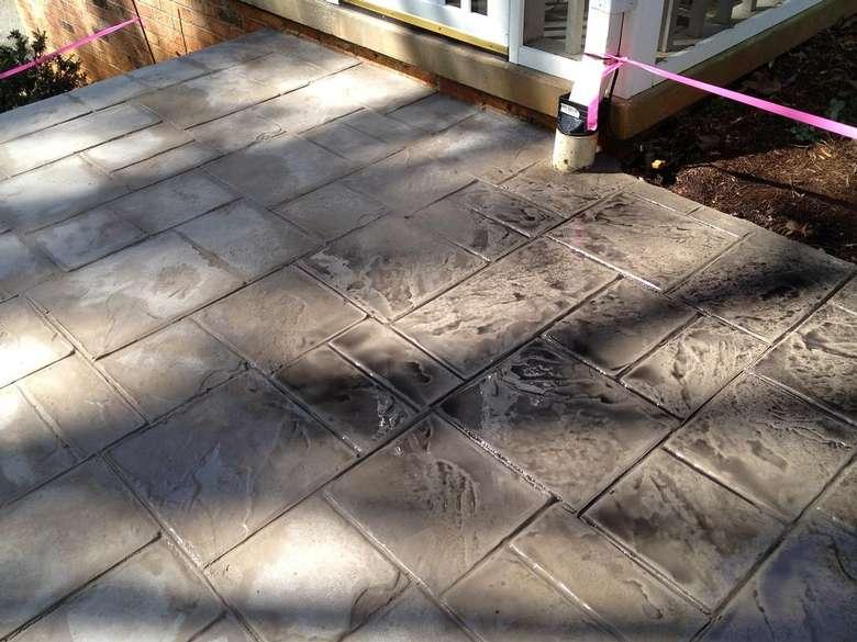 concrete floor in a square design