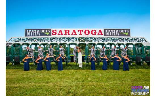 wedding party shot at starting gate in Saratoga