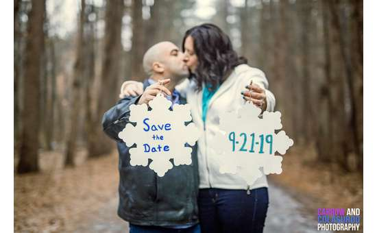 save the date kissing photo in woods