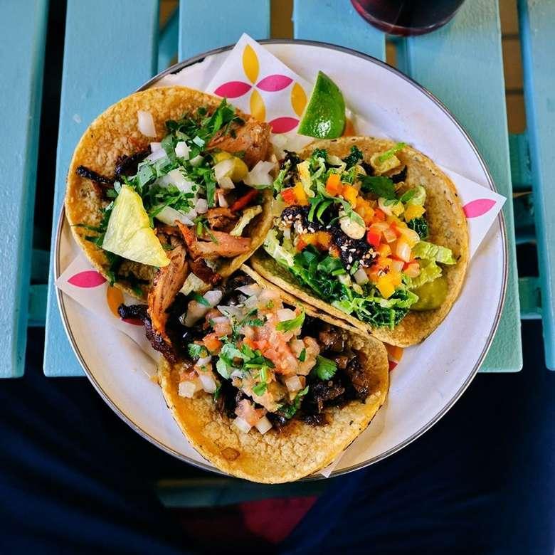three hard shell tacos