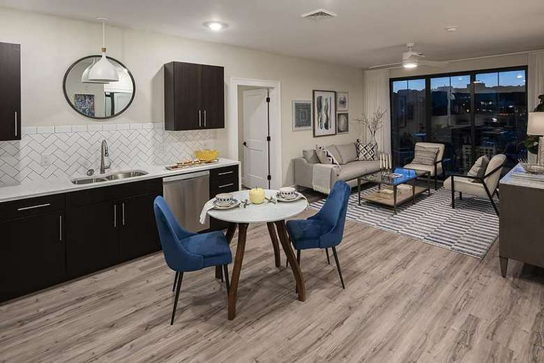 living room and dining area in apartment