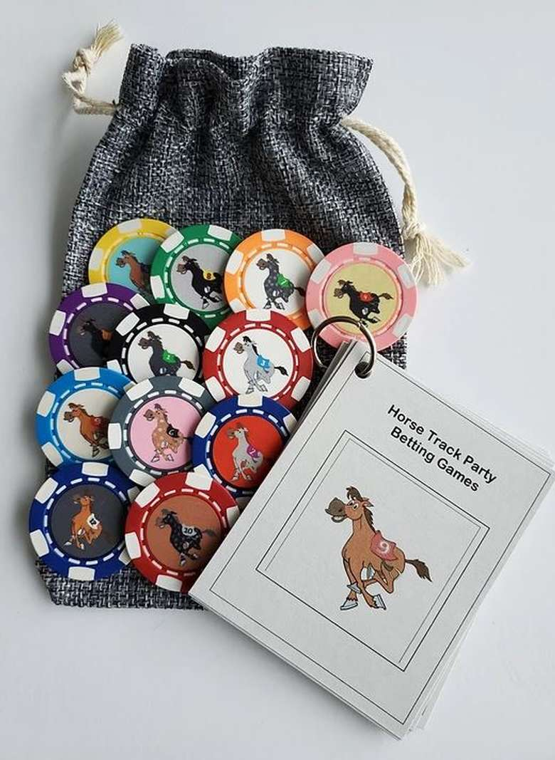 horse track party betting game pouch