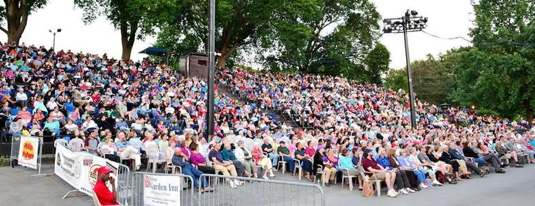 audience in outdoor seating area