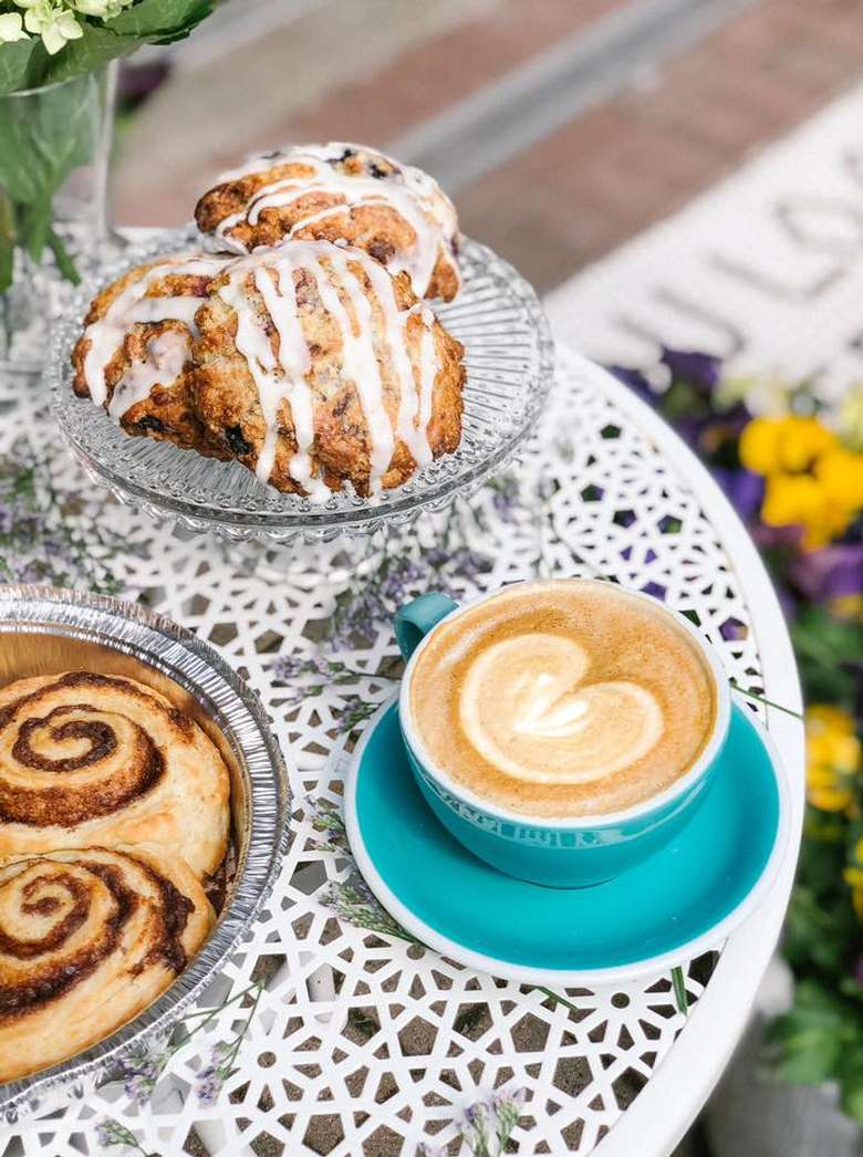 scones and coffee on table outdoors