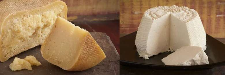 side by side photos of cheese