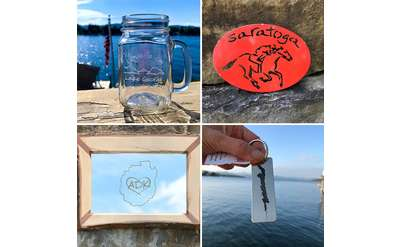 love is in new york products including a mason jar, trivet, mirror, and key chain