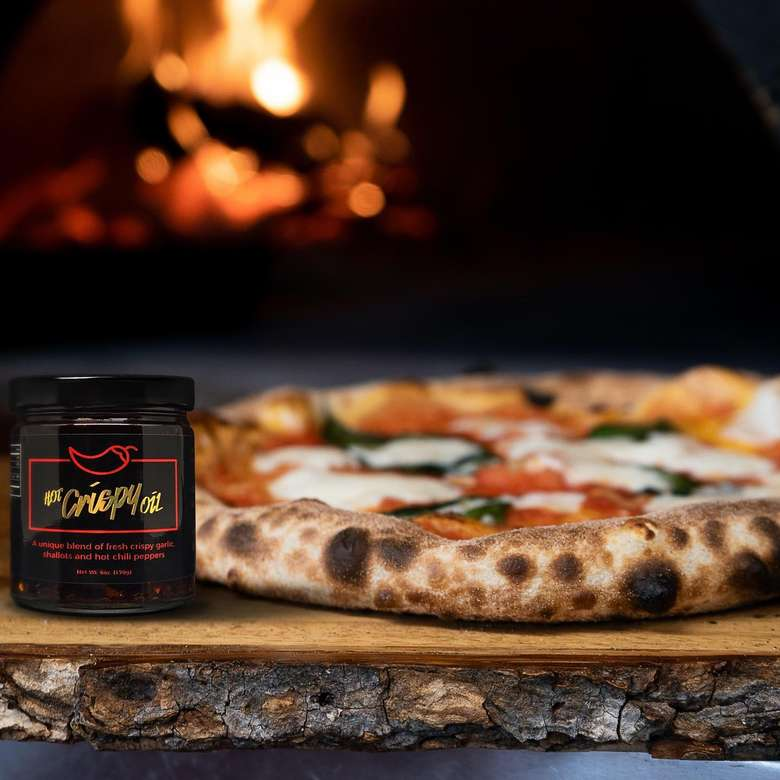 Hot Crispy Oil with pizza