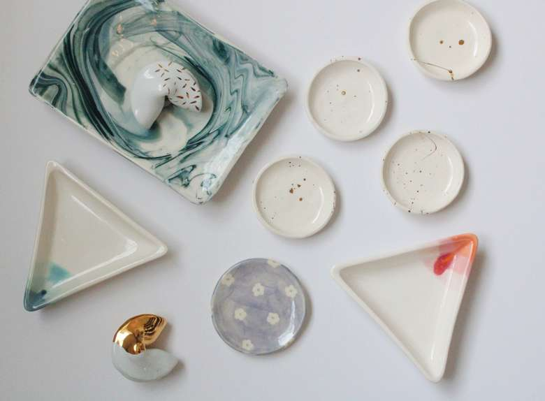 ceramic ring dishes, tray, and fortune cookies