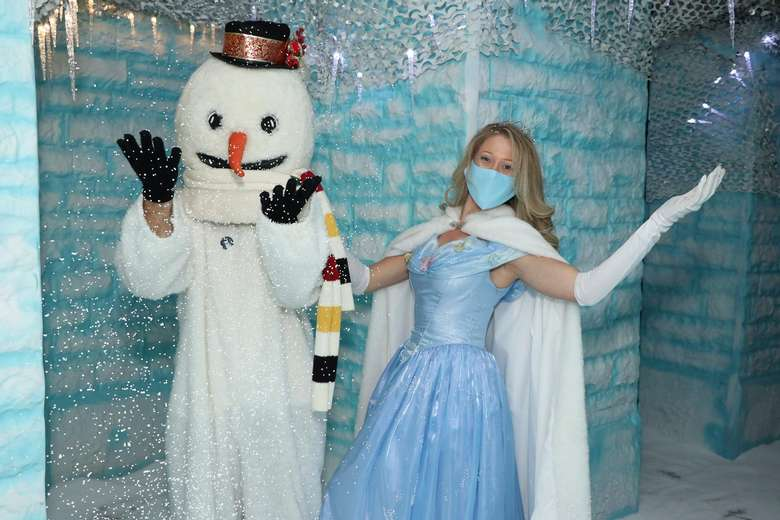 ice queen with snowman