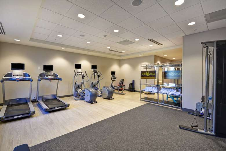 treadmills and other exercise equipment in a fitness room