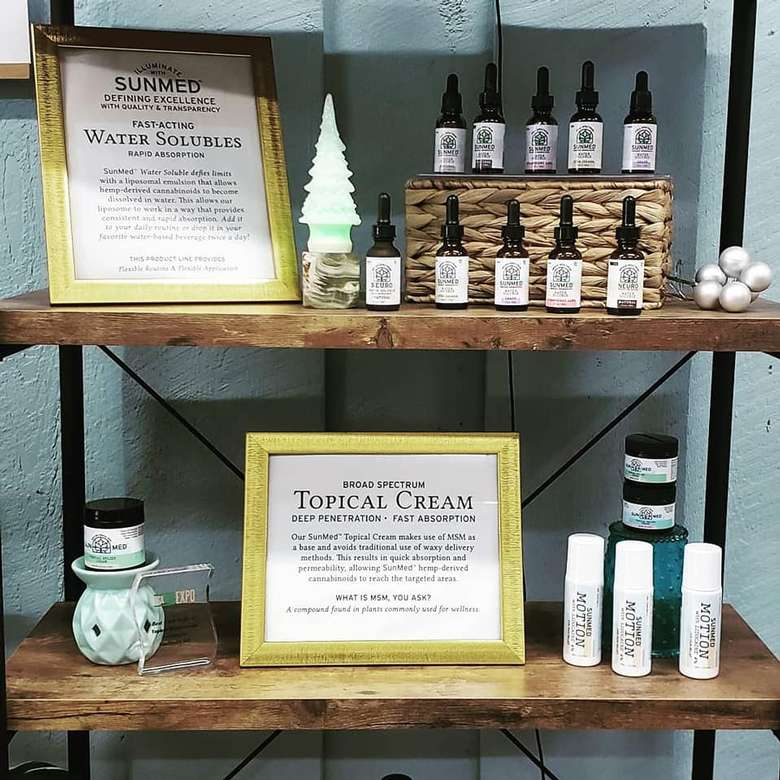 two shelves with products on display