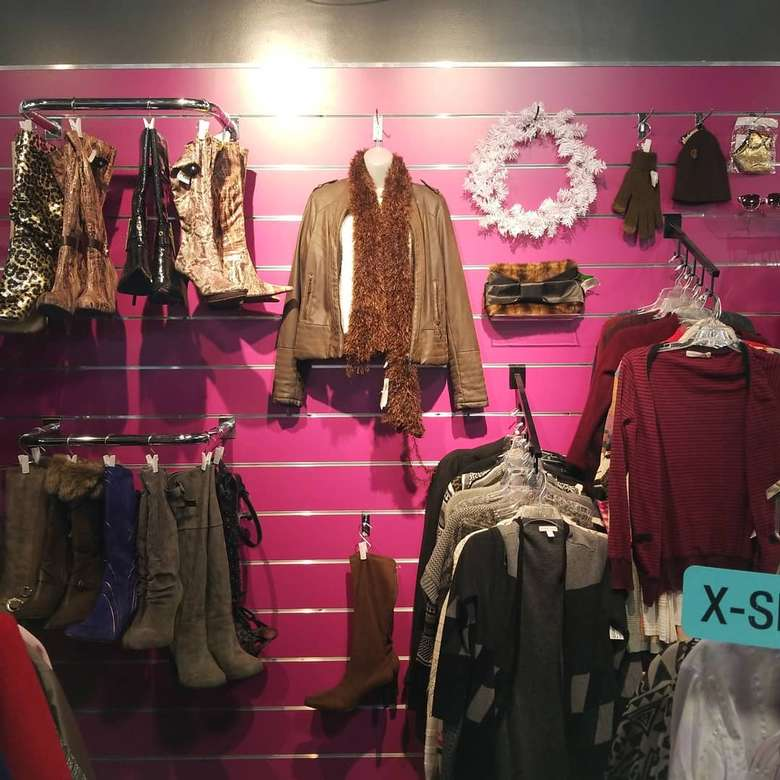 clothes and shoes on display