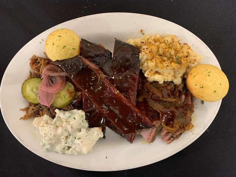 bbq platter with ribs and sides