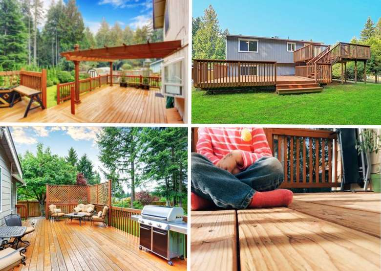 collage of deck photos
