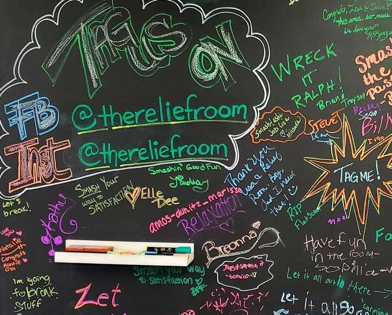 a blackboard with words on it