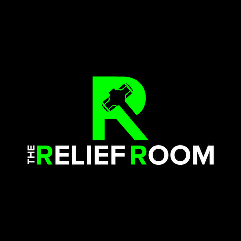 black and green logo for the relief room