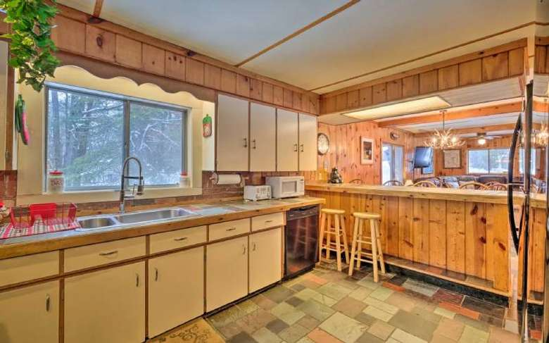 kitchen area in a rustic lodge