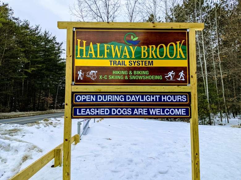 Halfway Brook trail sign