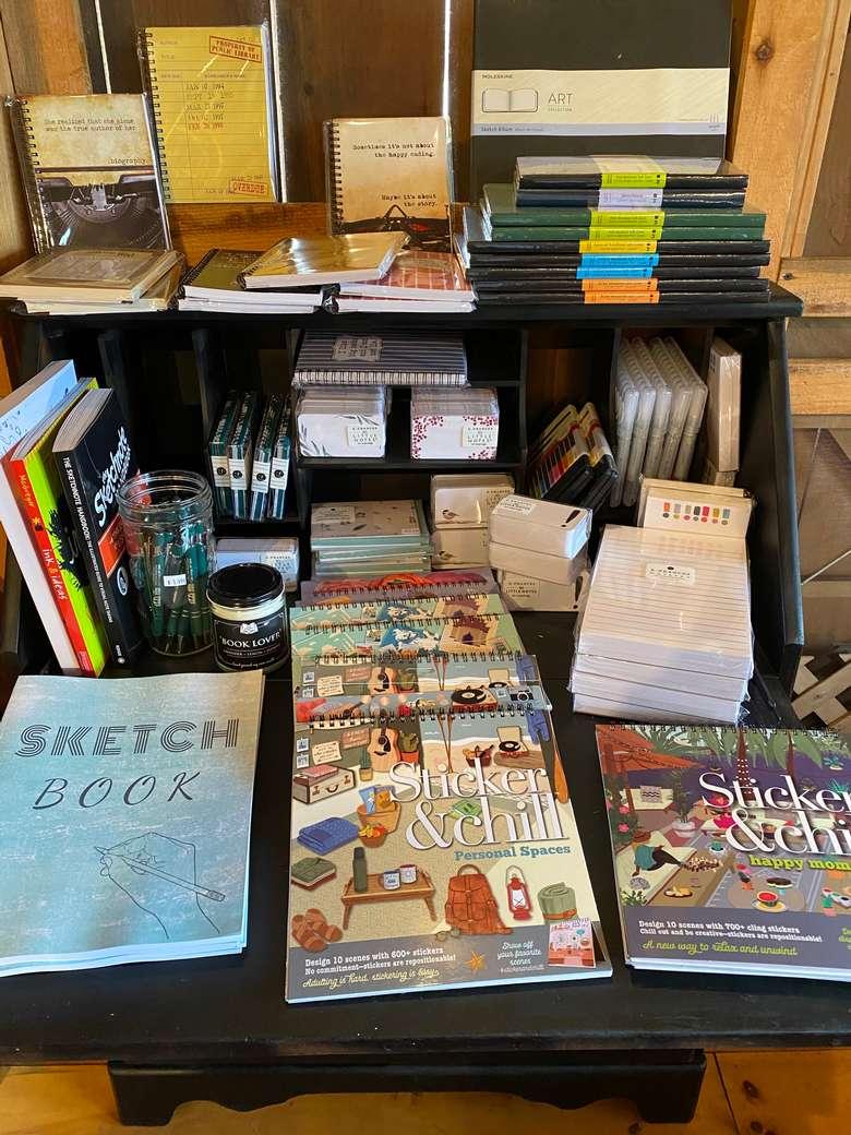 sketchbook in journaling corner