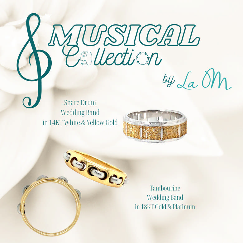Wedding Band Promotion, one 14kt yellow and white band modeled after a snare drum, and one 18kt yellow and platinum band modeled after a tambourine