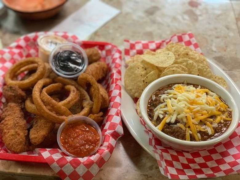 nachos and chili and onion rings