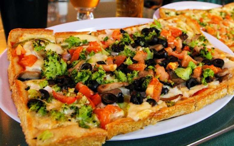 rectangular pizza with toppings