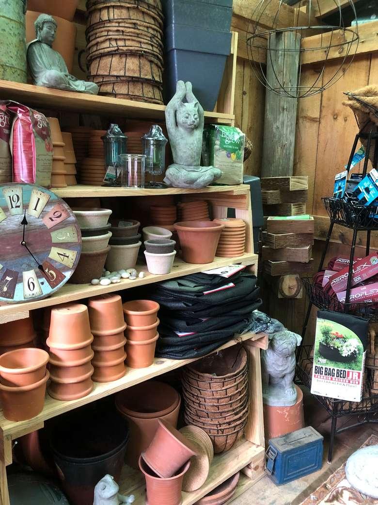 garden pots in a gift store
