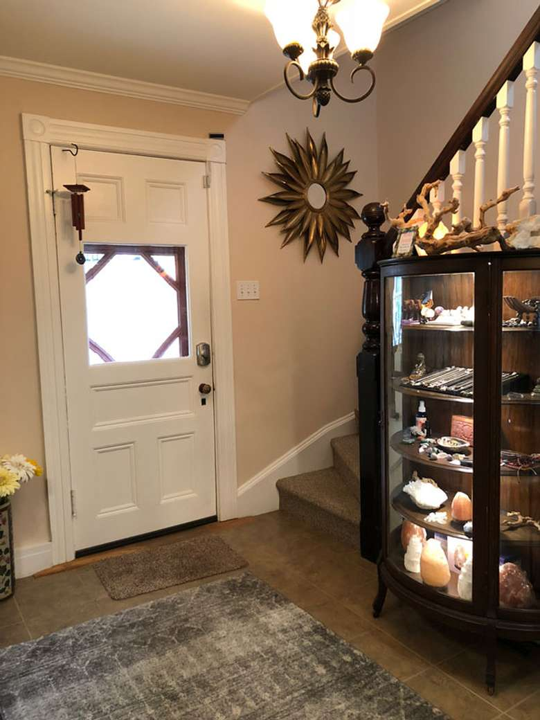 small display near a staircase