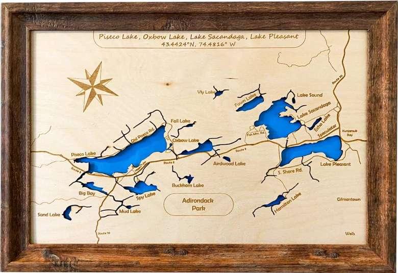 wood map of lake pleasant area