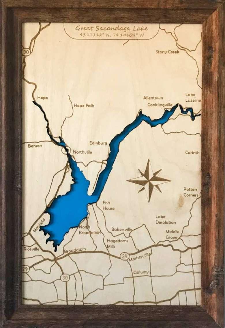 Wooden lake map of Great Sacandaga Lake