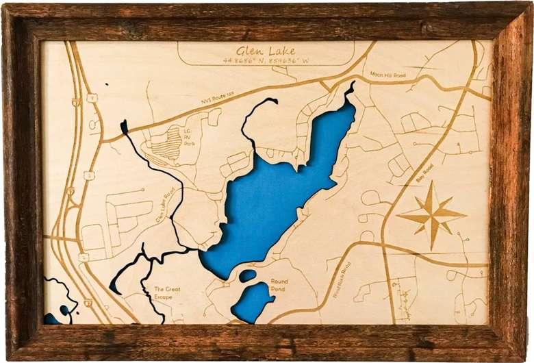 wood map of glen lake