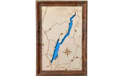 Wooden lake map of Lake George