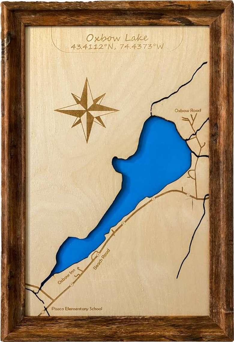 wood map of oxbow lake