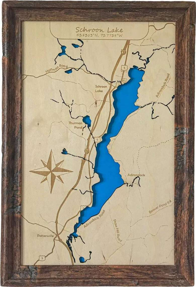 wood map of schroon lake