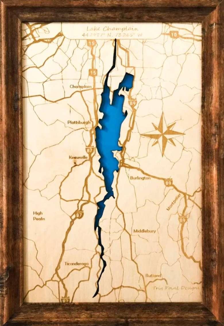 wood map of lake champlain